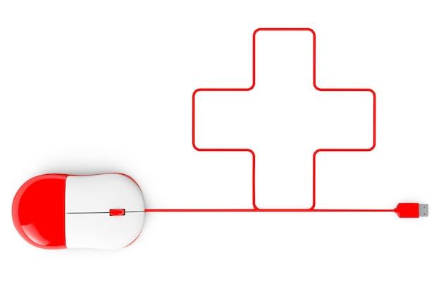 Компьютерная мышь и кабели в виде креста на белом фоне