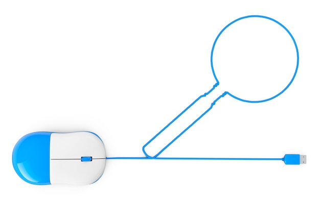 Computer mouse and cables in form of magnifying glass on a white background