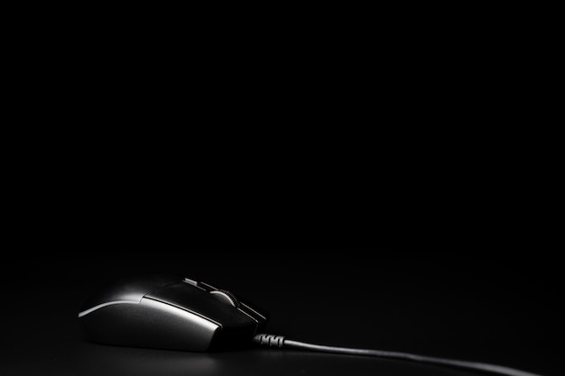 Computer mouse isolated on black background
