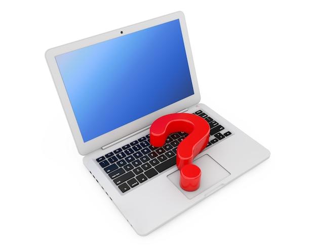 コンピュータオンラインヘルプ情報の概念。白い背景の上のラップトップキーボード上の赤い疑問符。 3dレンダリング
