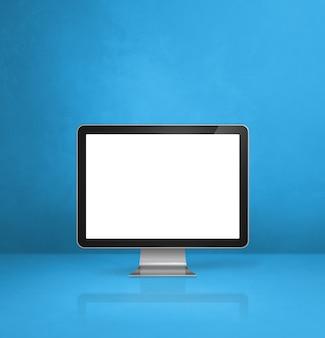 컴퓨터 pc- 블루 사무실 책상 배경입니다. 3d 일러스트레이션
