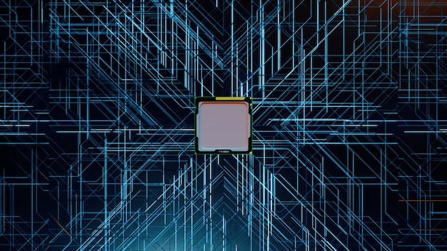 A computer processor with millions of connections and signals. technology cpu background.