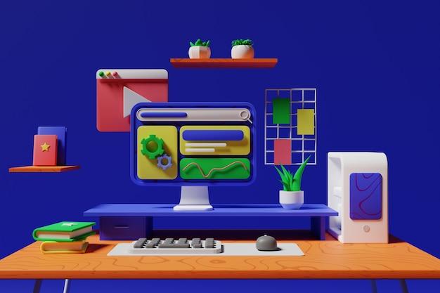 대리석에 컴퓨터 화면 모형
