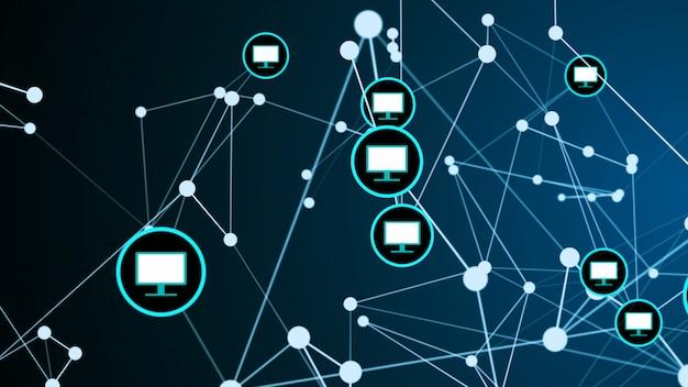 コンピューター画面モニターリンク接続ネットワーク構造グラフィック図