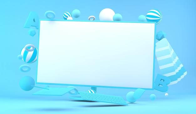 그래픽 디자인 요소 3d 렌더링으로 둘러싸인 컴퓨터 화면