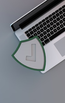 Computer security concept. a laptop with green shield for protection online