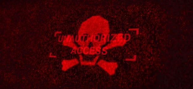 Компьютерный сервер атакован хакером из-за уязвимого несанкционированного доступа, экрана предупреждения о защите сетевой системы данных, футуристических угроз цифровой кибербезопасности 3d-иллюстрация