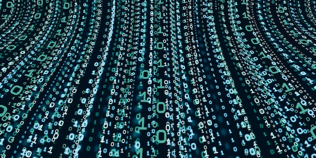 コンピュータシステム情報の概念抽象的なバイナリコード技術デジタルバイナリデータ画面の上部から落ちるバイナリデータの背景3dイラスト