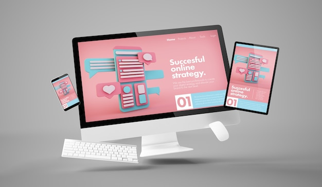 Computer, tablet and smartphone showing online marketing responsive website with white scren 3d rendering