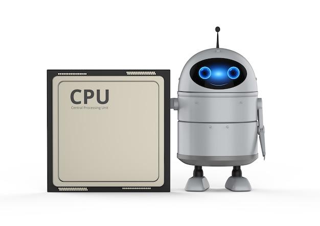 Концепция компьютерных технологий с 3d-рендерингом робота-андроида или робота с искусственным интеллектом с чипом процессора