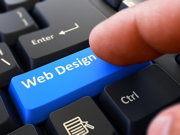 Computer user presses blue button web design on black keyboard. closeup view. blurred background. 3d render.