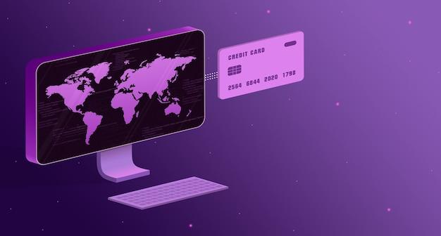 화면에 세계지도와 3d 신용 카드가있는 컴퓨터
