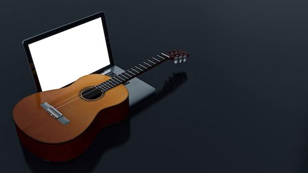 Компьютер с акустической гитарой