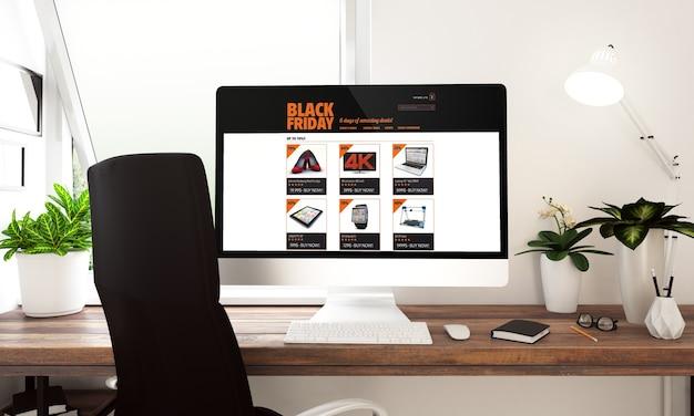 テーブルの3dレンダリングで黒い金曜日のセールとコンピューター