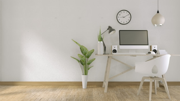 Computer with blank screen  and decoration in office room. 3d rendering