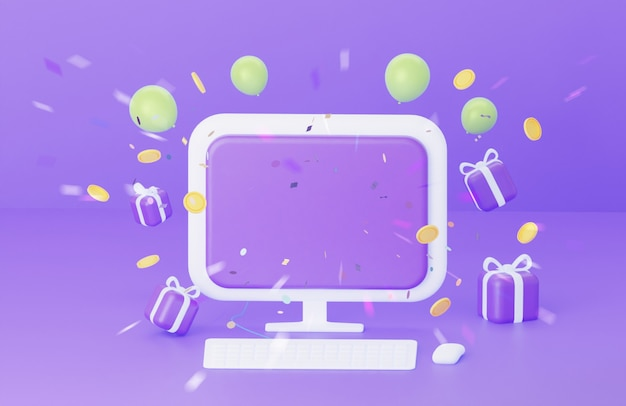 A computer with a blank screen on a purple background the concept of congratulations to the winner