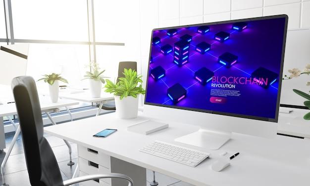 現代のオフィスの3dレンダリングでブロックチェーンウェブサイトを備えたコンピューター