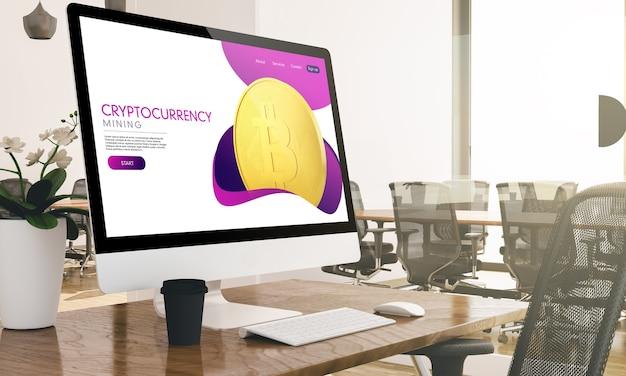 Компьютер с экраном веб-сайта криптовалюты на 3d-рендеринге современного бизнес-офиса