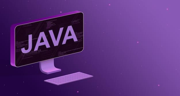 화면에 프로그램 코드 요소와 비문 java 및 보라색 배경에 키보드가있는 컴퓨터 3d