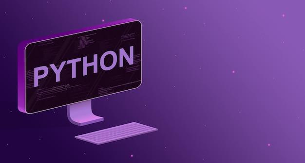 화면에 프로그램 코드 요소와 비문 python 및 보라색 배경에 키보드가있는 컴퓨터 3d
