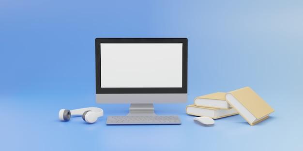 마우스와 파란색 배경에 책 컴퓨터