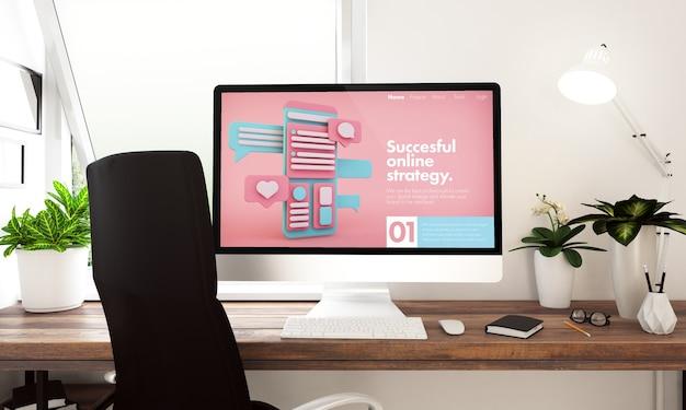 Компьютер с веб-сайтом онлайн-маркетинга на столе 3d-рендеринга