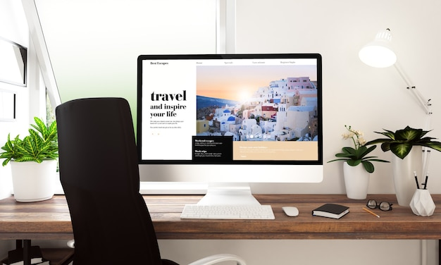 테이블 3d 렌더링에 여행 웹 사이트와 컴퓨터