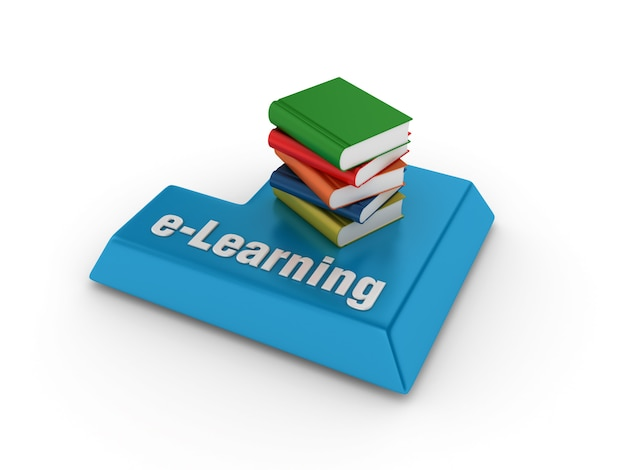 Compyter keywords with books and e-learning word