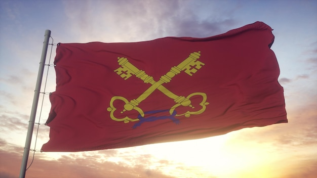 Comtat venaissin flag, france, waving in the wind, sky and sun background. 3d rendering