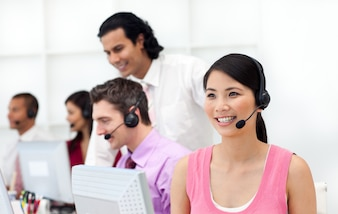 Concentrated business people with headset on