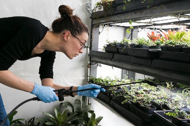 온실에 집중된 정원사 급수 식물