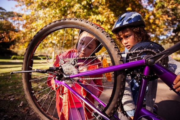 Концентрированные братья и сестры ремонтируют горный велосипед