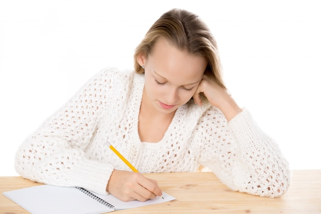 Concentrated student doing homework