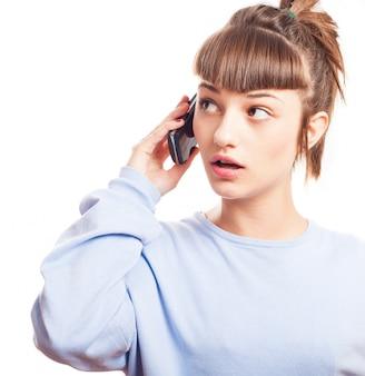 전화 통화 집중된 십 대