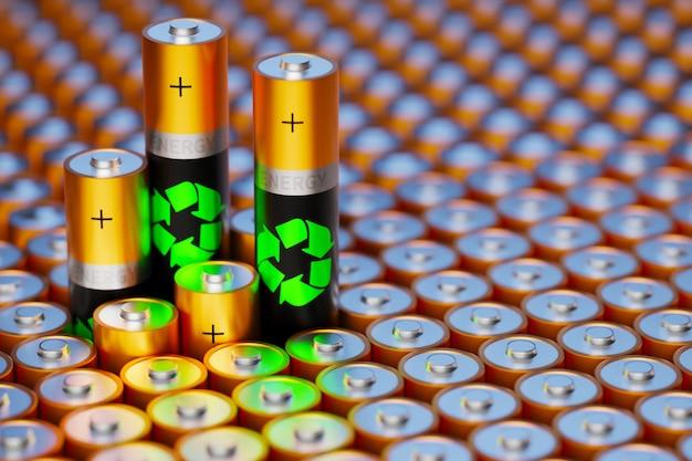 Концентрация возобновляемой энергии. утилизация старых батарей. безопасная энергия. запретить атомные электростанции. 3d визуализация.
