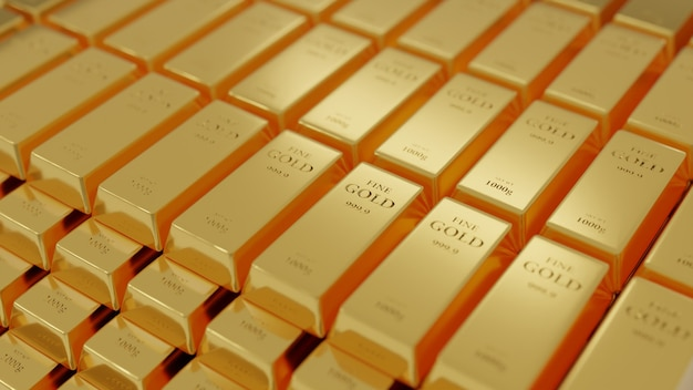 Концепция 3d-рендеринга - золотые слитки уложены поверх множества слоев.