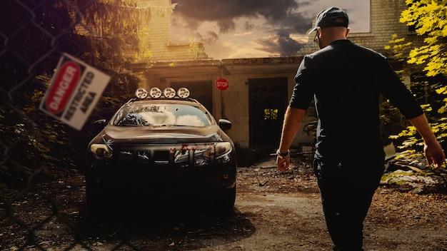 Апокалипсис концепт-арта. последний человек на земле стоит возле заброшенной машины после пандемии вируса. знаки опасности вокруг вирусной зоны.