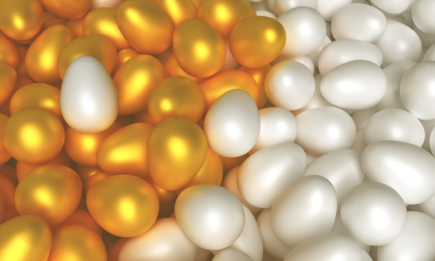 Concept art on the theme of easter. white and gold eggs 3d illustration
