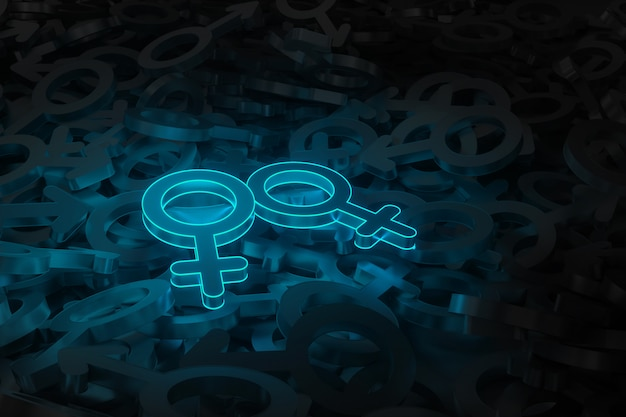 Concept art on the theme of same-sex love 3d illustration