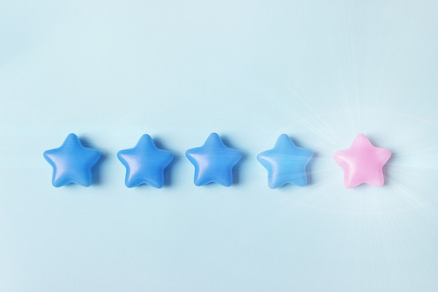 The concept of assessment. five stars to increase the company's rating, increase the rating