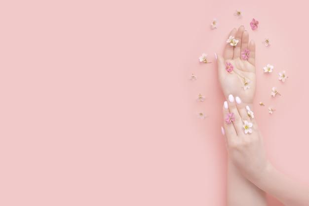 コンセプトビューティー。花エキス製品を使用したナチュラルビューティーハンドコスメティックス。夏のファッションの女性の手