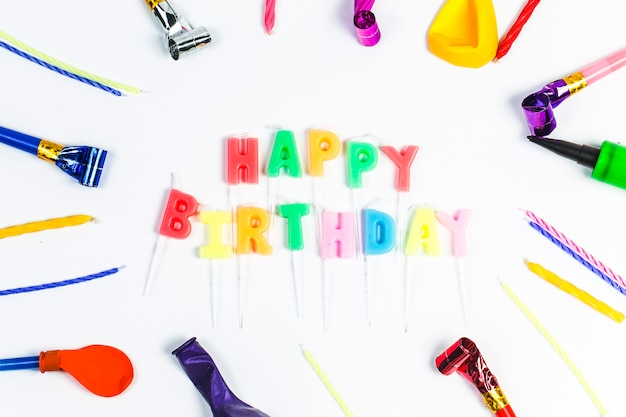 Concept birthday party on white background top view pattern