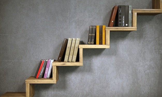 Concept bookshelf in the form of stairs