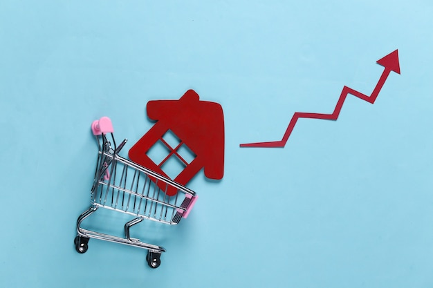 The concept of boosting house sales. shopping trolley with home and growth arrow on a blue