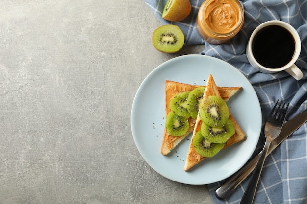 Concept of breakfast with toasts with avocado Premium Photo