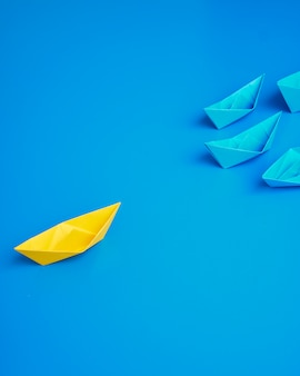 Concept business ship boat blue background