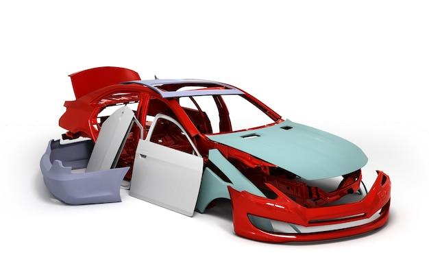 Концепт-кар окрашен в красный цвет кузова и загрунтованы детали рядом с изолированным на белом фоне 3d визуализации
