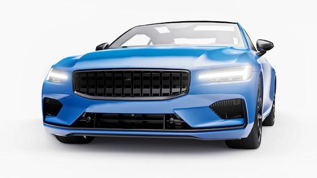 컨셉카 스포츠 프리미엄 쿠페. 흰색 바탕에 파란색 차입니다. 플러그인 하이브리드. 친환경 운송 기술. 3d 렌더링.
