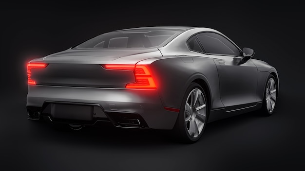 Concept car sports premium coupe. gray car on black background. plug-in hybrid. technologies of eco-friendly transport. 3d rendering.