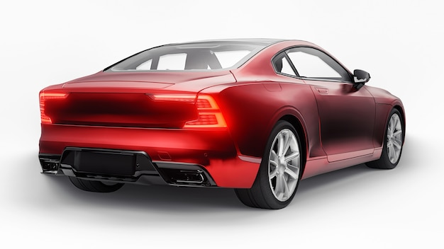 Concept car sports premium coupe. plug-in hybrid. technologies of eco-friendly transport. red car on white background. 3d rendering.